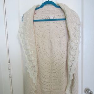 Flying Tomato Sweater L Cream Lace Trim Cable